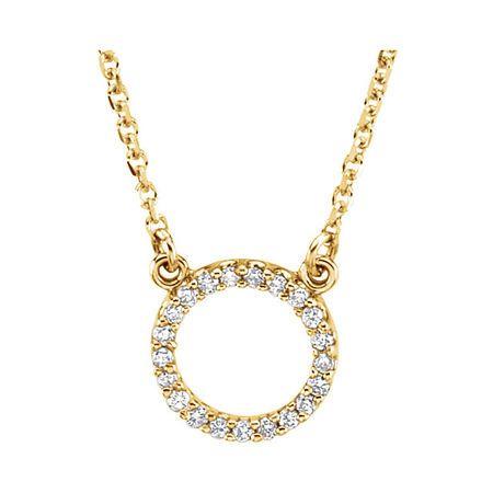 Great Buy in 14 Karat Yellow Gold 0.10 Carat Total Weight Diamond Circle 16
