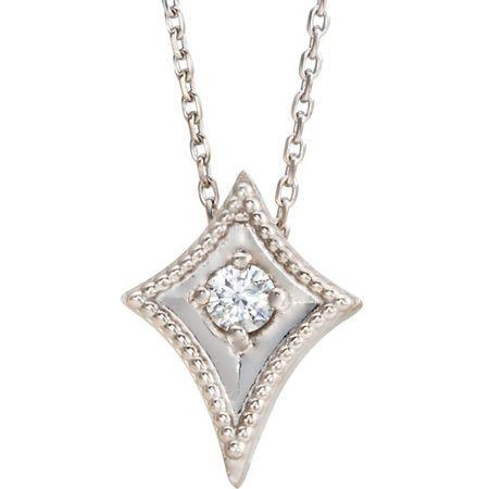 Perfect Gift Idea in 14 Karat Yellow Gold 0.10 Carat Total Weight Diamond Kite 16-18