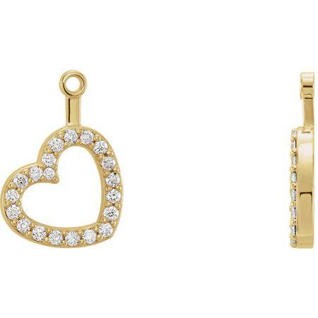 Must See 14 Karat Yellow Gold 0.20 Carat Total Weight Diamond Heart Earring Jackets