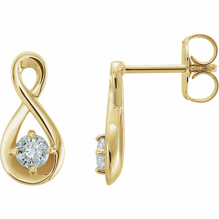Contemporary 14 Karat Yellow Gold 0.20 Carat Total Weight Diamond Infinity-Inspired Earrings
