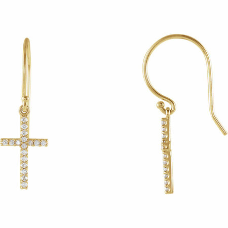 Perfect Jewelry Gift 14 Karat Yellow Gold 0.17 Carat Total Weight Diamond Cross Earrings
