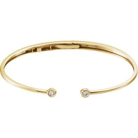 Appealing Jewelry in 14 Karat Yellow Gold 0.17 Carat Total Weight Diamond Hinged Cuff Bracelet