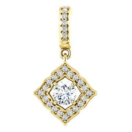 Great Buy in 14 Karat Yellow Gold 0.40 Carat Total Weight Diamond Halo-Style Clover Pendant