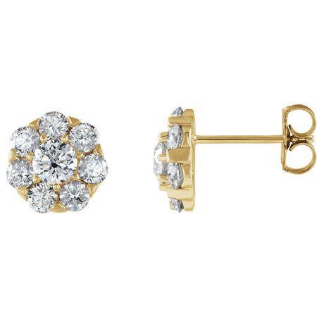 Beautiful 14 Karat Yellow Gold 0.60 Carat Total Weight Diamond Cluster Earrings