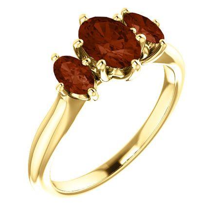 Must See 14 Karat Yellow Gold 7x5mm Oval Garnet Ring