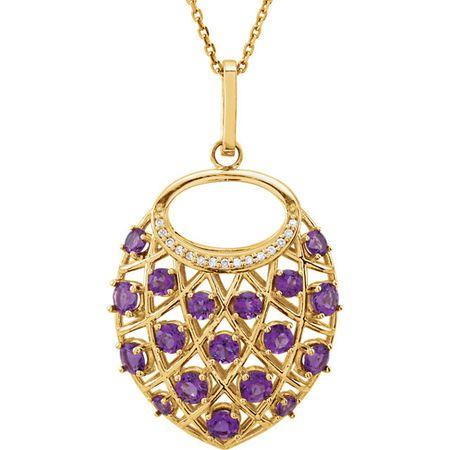 Surprise Her with  14 Karat Yellow Gold Amethyst & .04 Carat Total Weight Diamond Nest 18