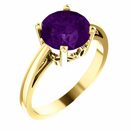 Beautiful 14 Karat Yellow Gold Amethyst Ring