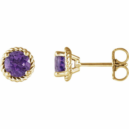 Stunning 14 Karat Yellow Gold Amethyst Rope Earrings