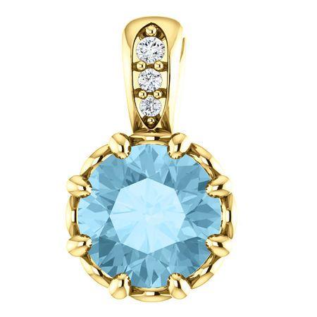 Great Buy in 14 Karat Yellow Gold Aquamarine & .02 Carat Total Weight Diamond Pendant