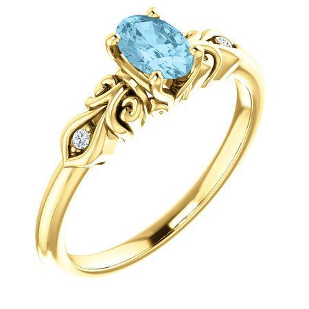 Perfect Jewelry Gift 14 Karat Yellow Gold Aquamarine & .02 Carat Total Weight Diamond Ring