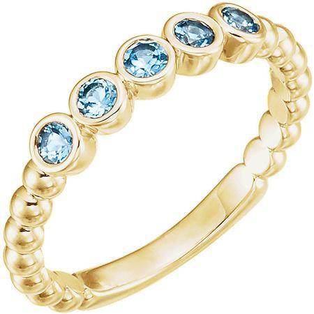 Appealing Jewelry in 14 Karat Yellow Gold Aquamarine Bezel-Set Beaded Ring