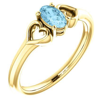 Chic 14 Karat Yellow Gold Aquamarine Youth Heart Ring