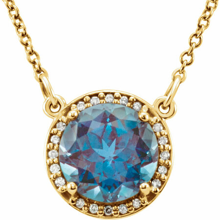 Chic 14 Karat Yellow Gold 7mm Round Genuine Chatham Created Created Alexandrite & .04 Carat Total Weight Diamond 16