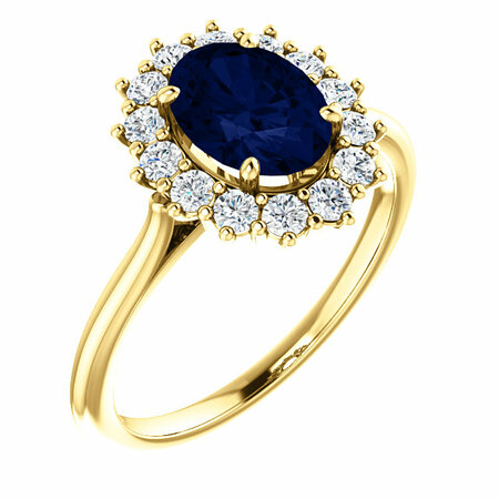 Stunning 14 Karat Yellow Gold Genuine Chatham Created Created Blue Sapphire & 0.40 Carat Total Weight Diamond Ring
