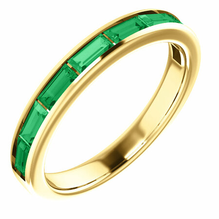 Excellent 14 Karat Yellow Gold Chatham Created Emerald Ring