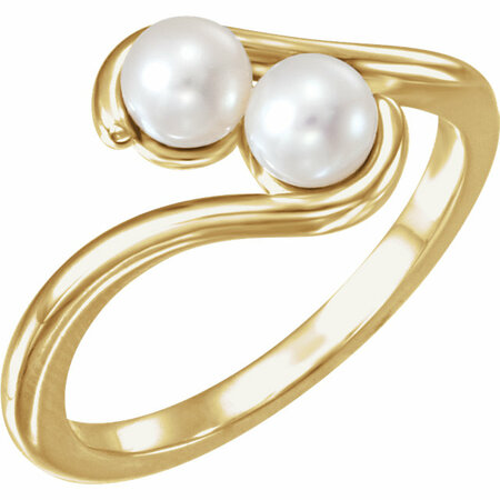 Very Nice 14 Karat Yellow Gold Freshwater Cultured Pearl Two-Stone Ring