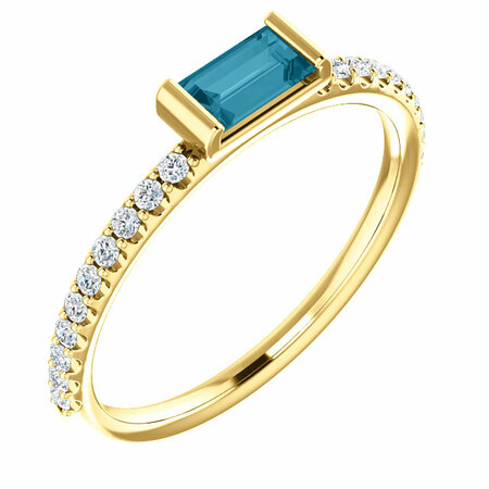 Great Deal in 14 Karat Yellow Gold London Blue Topaz & 0.17 Carat Total Weight Diamond Stackable Ring