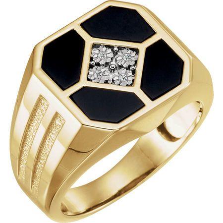 Wonderful 14 Karat Yellow Gold Men's Onyx & .02 Carat Total Weight Diamond Ring