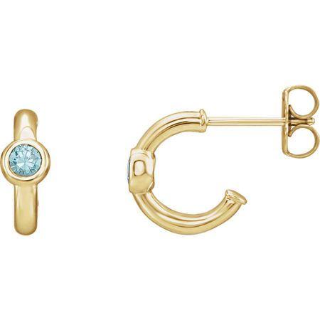 Perfect Gift Idea in 14 Karat Yellow Gold Zircon J-Hoop Earrings