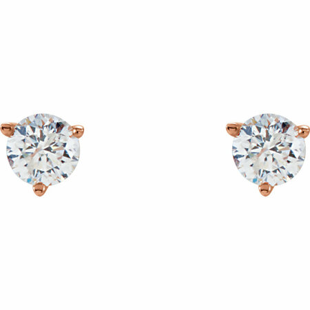 14 KT Rose Gold 1/4 Carat Total Weight Diamond Stud Earrings