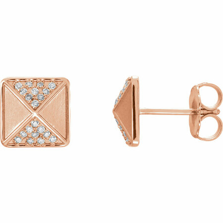 Gorgeous 14 Karat Rose Gold .10 Carat Total Weight Diamond Accented Earrings