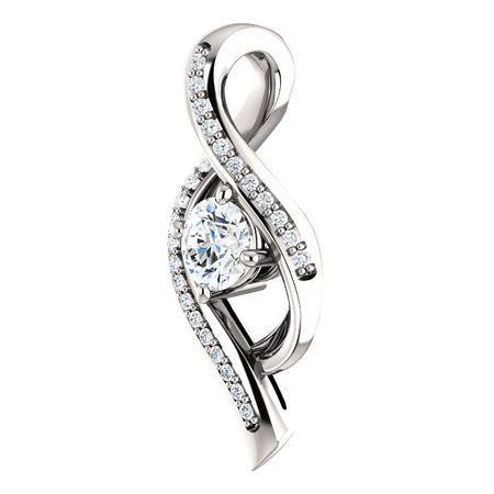 14 KT White Gold 1/3 Carat Total Weight Diamond Pendant