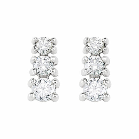 14 KT White Gold 1/4 Carat Total Weight Diamond 3 Stone Earrings