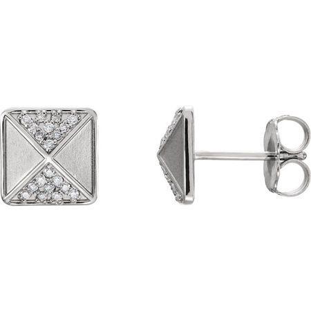 Stunning 14 Karat White Gold .10 Carat Total Weight Diamond Accented Earrings