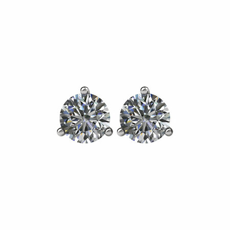 14 KT White Gold 3/4 Carat Total Weight Diamond Friction Post Stud Earrings