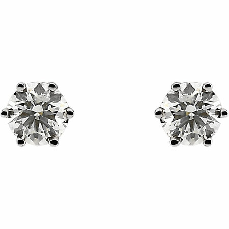 14 KT White Gold 3/4 Carat Total Weight Diamond Threaded Post Stud Earrings