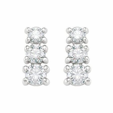 14 KT White Gold 3/8 Carat Total Weight Diamond 3 Stone Earrings