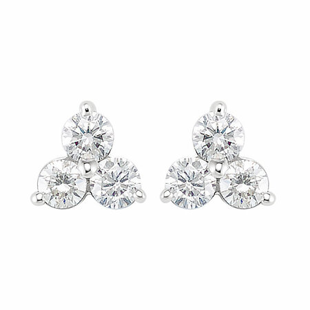 14 KT White Gold 5/8 Carat Total Weight Three-Stone Diamond Earrings