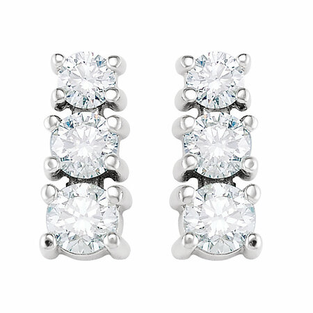 14 KT White Gold 9/10 Carat Total Weight Diamond 3 Stone Earrings