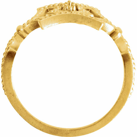 14 KT Yellow Gold .08 Carat Total Weight Diamond Granulated Ring