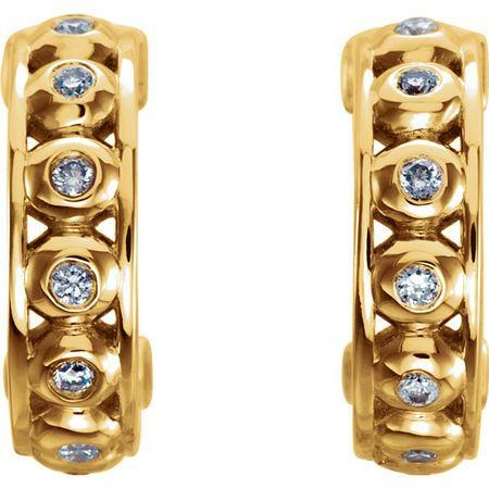 14 KT Yellow Gold 1/10 Carat Total Weight Diamond Hoop Earrings
