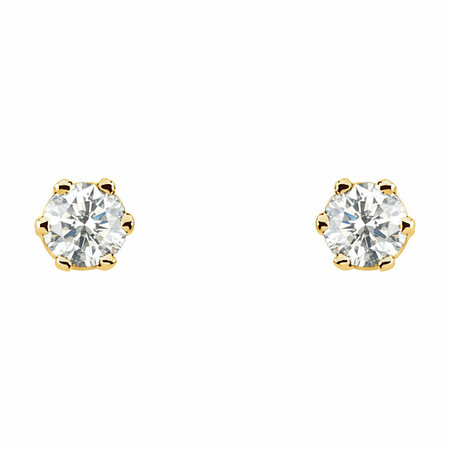 14 KT Yellow Gold 1/2 Carat Total Weight Diamond Threaded Post Stud Earrings