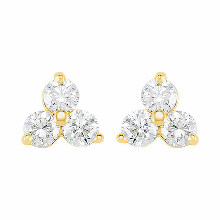 14 KT Yellow Gold 1/3 Carat Total Weight Diamond Three-Stone Earrings With Backs