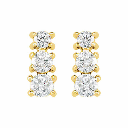 14 KT Yellow Gold 1/4 Carat Total Weight Diamond 3 Stone Earrings