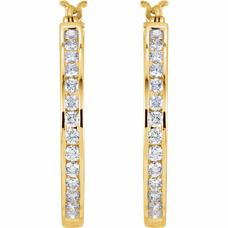14 KT Yellow Gold 1 Carat Total Weight Diamond Hoop Earrings