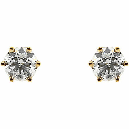 14 KT Yellow Gold 3/4 Carat Total Weight Diamond Threaded Post Stud Earrings