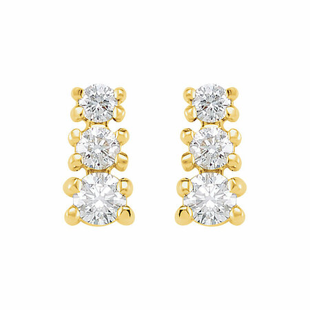 14 KT Yellow Gold 3/8 Carat Total Weight Diamond 3 Stone Earrings
