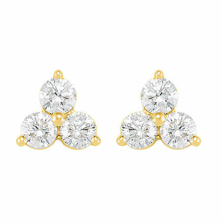 14 KT Yellow Gold 5/8 Carat Total Weight Three-Stone Diamond Earrings