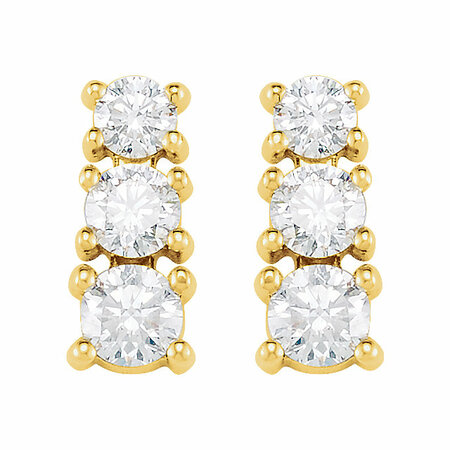 14 KT Yellow Gold 9/10 Carat Total Weight Diamond 3 Stone Earrings