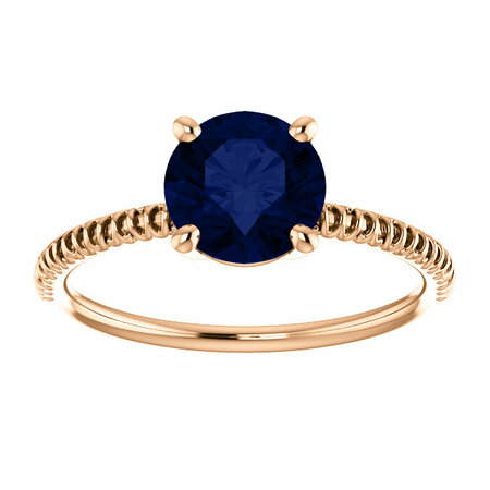 14K Rose Chatham® Created Blue Sapphire Ring