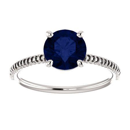 14K White Chatham® Created Blue Sapphire Ring