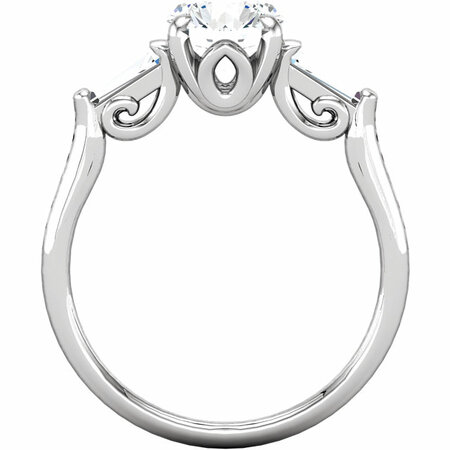 14K White Cubic Zirconia & 1/4 CTW Diamond Sculptural-Inspired Engagement Ring