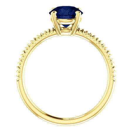 14K Yellow Chatham® Created Blue Sapphire Ring