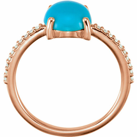 14KT Rose Gold 10x8mm Oval Cabochon Turquoise & 1/10 Carat Total Weight Diamond Ring