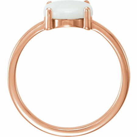 14KT Rose Gold 10x8mm Oval Opal Cabochon Ring