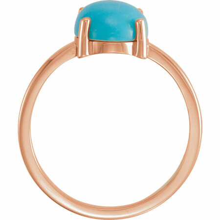 14KT Rose Gold 10x8mm Oval Turquoise Cabochon Ring